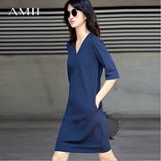 Amii[极简主义]2017夏新品优雅气质V领宽松显瘦连衣裙 11762517