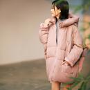 米可可   W9982文艺大码韩版茧型加厚中长款保暖棉服女 18秋冬新
