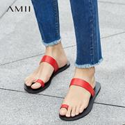 Amii[极简主义]2017夏装新品极简一字带头层牛皮平底凉鞋11773333