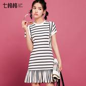 七格格2017夏装新款时尚甜美修身圆领条纹荷叶裙摆短袖连衣裙Z021