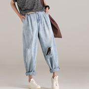 米可可  N5176 文艺大码做旧磨白破洞刺绣哈伦牛仔裤女 2018夏新