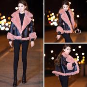 2017冬装新款韩版机车羊羔毛短外套女短款皮毛一体加绒加厚夹克潮