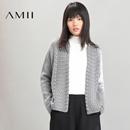 Amii[极简主义]2016冬新女纯色麻花针织开衫长袖毛衣外套11673455