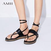 Amii[极简主义]2017夏装新品罗马系带一字带头层牛皮凉鞋11773336