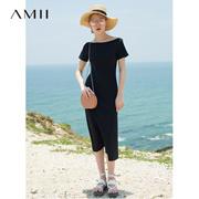 Amii[极简主义]2017夏新品休闲修身短袖连衣裙  11762569