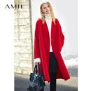 Amii极简现代chic设计感纯羊毛双面呢女2018冬季新款对襟宽松外套