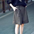 韩版百搭咖啡色竖纹直筒高腰宽松五分西装短裤女2019秋季米可可