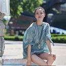 米可可 C1111 文艺大码圆领短袖蝴蝶结收腰茧型薄款苎麻衬衫女
