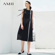 Amii[极简主义]2017夏装新款圆领风琴褶撞色无袖连衣裙11783520