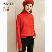 Amii极简慵懒风软奶蓝毛衣女2019冬季新款宽松半高领毛边套头上衣
