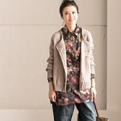 包邮预售 C926B 文艺通勤纯棉印花褶皱中长款打底外穿衬衫女 春新