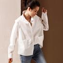 米可可 C1012 文艺大码拼接方领长袖廓形打底白衬衫女 2019春新