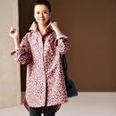 米可可  C1920 韩版大码粉色豹纹显瘦中长款纯棉衬衫女 2019春新