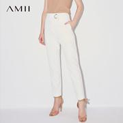 Amii[极简主义]2017秋装新品知性微弹梭织宽松显瘦九分裤11741659