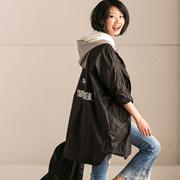 W7190A 韩版字母印花纯色中长款防晒衣拼色连帽外套女【米可可】