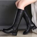 2016年冬季新款真皮女靴中跟高筒靴粗跟过膝长靴骑士靴