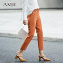 Amii[极简主义]爽直显瘦明线九分长西装裤2018春装新款休闲裤子