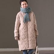米可可 W1556A 通勤韩版宽松百搭中长款棉服加厚外套大衣女冬新