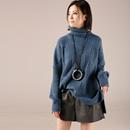米可可   M5512文艺大码宽松绞花套头保暖打底针织毛衣女 18冬新