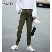 Amii[极简主义]2017秋装新品条纹橡筋腰抽绳运动休闲长裤11773930