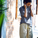 T1126 文艺宽松百搭高领半袖拼色条纹套头打底洋气T恤女2019秋米可可