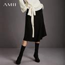 Amii[极简主义]美型弧线 高腰A字半身裙女 2017冬新纯色修身伞裙