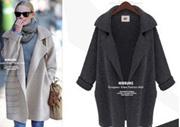 【ME2YO】2017外贸秋冬新款欧美风中长款西装领针织开衫宽松大码毛衣外套女装