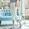 茵曼2017夏装新款纯色棉质七分裤女裤休闲裤白色裤子1872093260