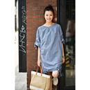米可可 Q0915韩版oversize抽褶直筒显瘦洋气灰蓝色套头连衣裙女