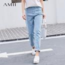 Amii極簡ins火水洗牛仔褲女2018春新款韓版顯瘦高腰直筒小腳褲子