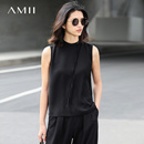 Amii[极简主义]2017春女纯色小高领绑带雪纺无袖大码背心黑色简约