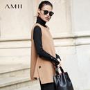 Amii手工诠释匠心 100%羊毛双面呢毛呢外套 2017直筒飘带无袖上衣