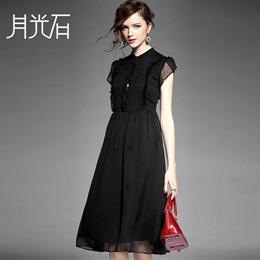 特价 99元 夏装新款优雅立领木耳边拼接纯色修身中长连衣裙女4939