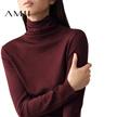 【秒杀】Amii[极简主义]春装新款修身套头黑色长袖打底针织衫高领毛衣女装11621976