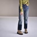 N9370  韩版百搭裤脚撞色抓毛薄绒九分牛仔裤女直筒宽松2019新款米可可