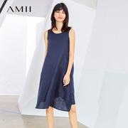 Amii[极简主义] 2017夏装新品V领前短后长插袋无袖连衣裙11784263