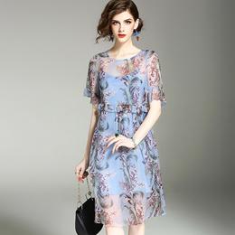 欧洲站女装2017夏季新款圆领喇叭袖修身中长裙印花显瘦真丝连衣裙