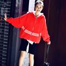 W8201 韩版连帽拉链蝙蝠袖减龄宽松大版运动休闲外套女2019秋装米可可