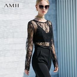 Amii极简优雅欧洲站薄透蕾丝短款罩衫2018夏装透视长袖T恤