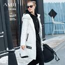 Amii[极简主义]轻便户外 连帽90白鸭绒羽绒女 2017冬装新中长外套