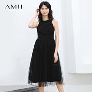 Amii[极简主义]2017夏新削肩圆领露背后吊带拼网纱连衣裙11772768