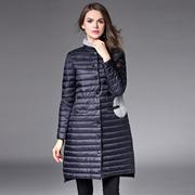 欧洲站2016冬季女装新品立领领口兔毛镶嵌单排扣中长款外套羽绒服