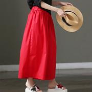米可可 K6958 文艺大码松紧腰褶皱九分裙裤纯棉阔腿裤女 2018夏