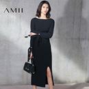 Amii2017春修身绑带长袖开衩包臀半裙针织套装11781436