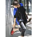 米可可 T9132 韩版大版拼色落肩纯棉百搭廓形宽松显瘦夏季T恤女