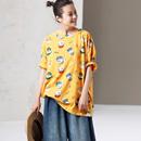 米可可 T2353 文艺大码圆领短袖猪猪印花减龄宽松纯棉T恤女2019