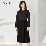 Amii[极简主义]2017春简约圆领拼接落肩袖收褶中长连衣裙11770199