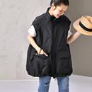 米可可 V2095文艺大码立领拉链做旧黑色宽松工装马甲chic外套女