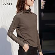 Amii[极简主义]卷边堆堆领毛衣2017秋装新款纯色长袖修身打底百搭