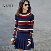 Amii[极简主义]2017春新女大码时尚平领条纹撞色针织T恤11781362